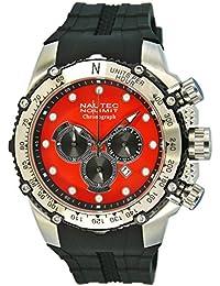 Nautec No Limit Herren-Armbanduhr XL Big Flash Chronograph Quarz Kautschuk BF-QZ-RBSTSTRD-BK
