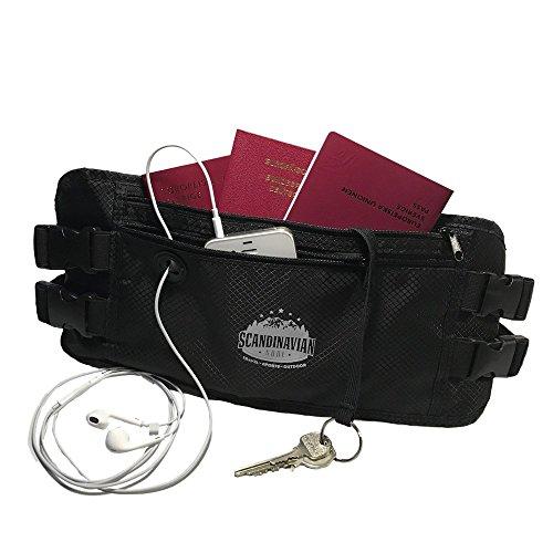 Flache Bauchtasche Hüfttasche Geldgürtel mit Kopfhörereinlass RFID-Blocker Flexi-Schlüsselband 2 Hüftgurten für Damen und Herren – wasserabweisend – für Outdoor Aktivitäten Sport und Reisen schwarz
