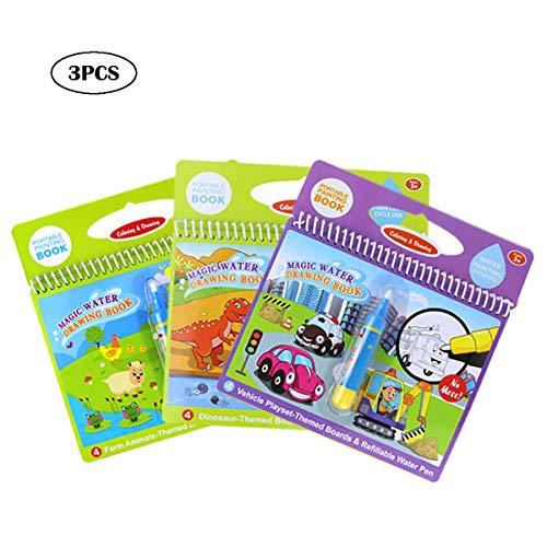 Jenilily Magic Water Zeichnung Buch Wasser Malbuch Doodle mit Magic Pen Malerei Board für Kinder Bildung Zeichnung Spielzeug (3PCS) -