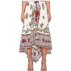 LHWY Falda AsiméTrica Floral Tribal De Las SeñOras Boho De Las Mujeres Vestido Largo De Playa De Verano Maxi Vestido De Playa (Rojo, M)