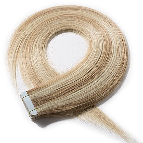 Extension adesive capelli veri con biadesivo 60cm 20 fasce 50g/set 100% remy human hair lisci umani biondi - tape in hair extensions #18/#613 beige sabbia biondo mix biondo chiarissimo