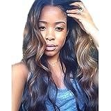 ZanaWigs Body Wave Brazilian Virgin Hair klebefreien Front Lace Human Hair Per¨¹cken f¨¹r Damen schwarz gewellt Lace Wig mit Baby Haar gebleicht Knoten nat¨¹rlicher Haaransatz Ombre Highlight Farbe