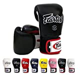 Fairtex Muay Thai Boxing Gloves BGV1 Color: Black Blue Red Yellow White Size : 10 12 14 16 oz. Training Sparring Gloves for Kick boxing MMA K1 (Black/White/Red, 10 oz)