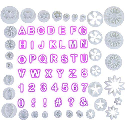 Faburo 77tlg Fondant Ausstecher,44 Buchstaben Ausstechformen Alphabet Zahlen und 33 tlg Ausstechformen Auswerfer Stempel Tortendeko Kuchendekorationsset Backen