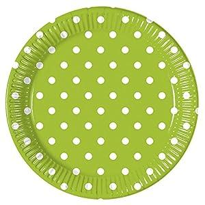 Procos - Platos verdes puntos, diámetro 23 cm, 8 unidades, multicolor, PR83212