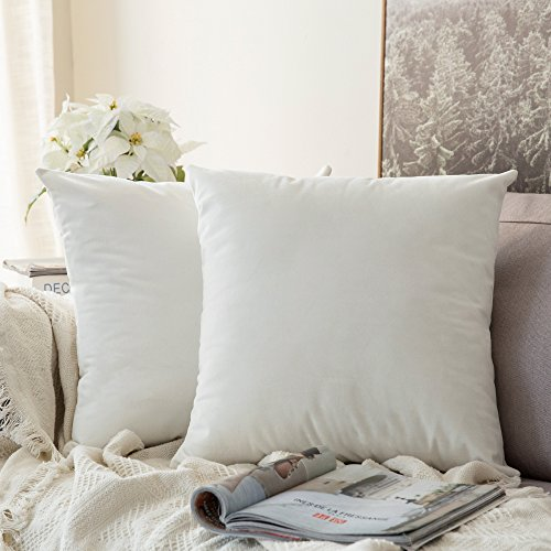 MIULEE Pack de 2, Terciopelo Suave Juego de Mesa de Manta de decoración Cuadrado Fundas de Almohada Funda de cojín para sofá Dormitorio Coche 18 x 18 Pulgada 45 x 45 cm Blanco Puro