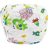 Sijueam Couche de bain bébé Lavable ajustable Maillot pour Piscine Natation Unisexe Imperméable Culotte Anti-fuite 0-18 mois / 10-18 kg Ocean World