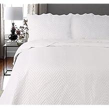 Lujo Arcade bordado mantas de cama colcha con fundas de almohada de poliéster, crema, matrimonio