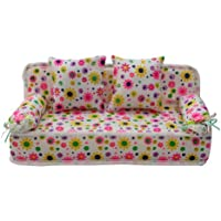 Lovely Miniature Furniture Flower Print Sofa Couch With 2 Cushions For Barbie