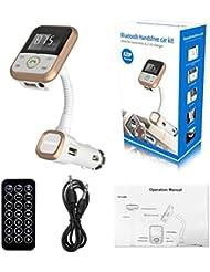 C'est Transmetteur Bluetooth vers radio FM de voiture pour téléphone et lecteur MP3 - écran LCD, compatible USB et cartes SD M doré