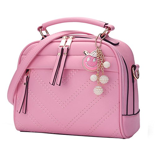 DISSA ES807 neuer Stil PU Leder Deman 2018 Mode Schultertaschen handtaschen Henkeltaschen,245×115×220(mm) Rosa