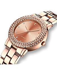 c04ee5ba0ed CIVO Women s Rose Golden Stainless Steel Band Wrist Watch Lady Simple  Design Classic Fashion Business Casual Dress Bracelet…