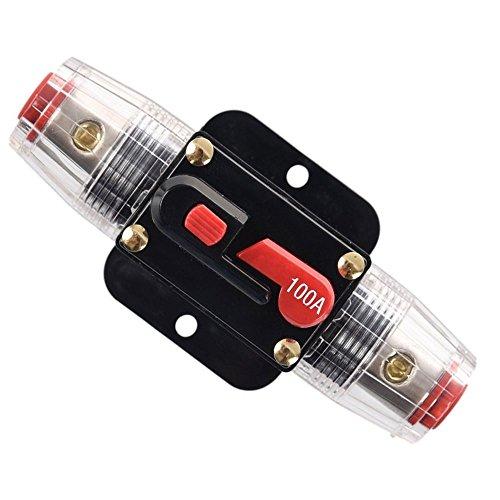 RKURCK 12V-24V 100A Auto Disjoncteur étanche Ampères Commutateur De Réarmement Manuel En Ligne pour la protection des systèmes d'inverseur de batterie solaire de voiture 100 Amps