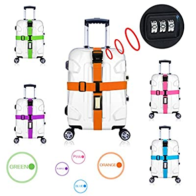 CSTOM Luggage Straps with Lock Cross Travel Suitcase Belt Non-slip