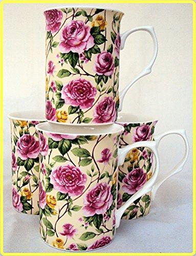 Garden Roses Becher Set von sechs 6Fine Bone China Becher Roses Set 6Tassen, Hand-dekoriert in Großbritannien Rose Garden Bone China