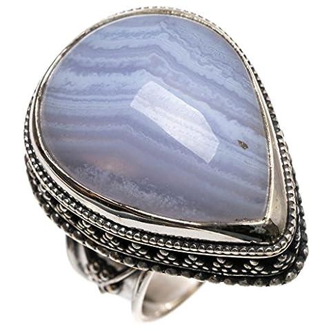 Stargems (TM) Naturel Agate bleue ancien Motif faite à la main Boho Bague en argent sterling 925, taille R