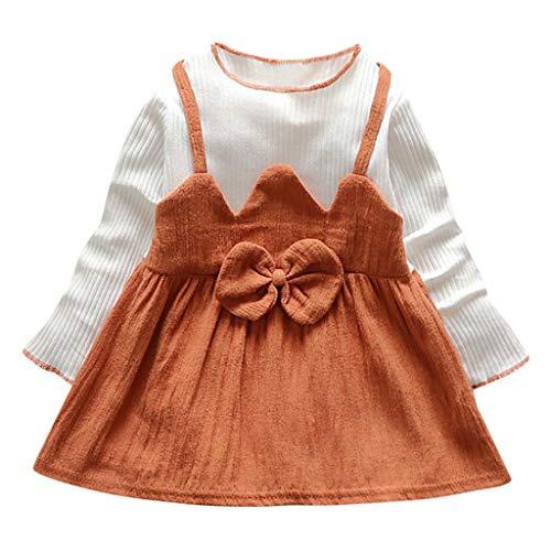 SOMESUN Baby Mädchen Mini Kleid Weich Baumwolle Lange Ärmel Fliege Täglich Prinzessin Rock Kinder Modisch Frühling Sommer Süß Atmungsaktiv Freizeitkleid