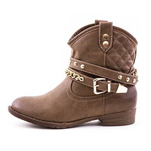 Damen Western Cowboy Stiefel Stiefeletten Boots Schuhe in hochwertiger Lederoptik mit Nieten Khaki