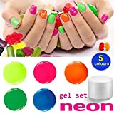 NEON Gel Set 5 x 5 ml – Colaxy Premium Nail Art Colorgel