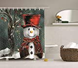 Kwboo Buon Natale Il Pupazzo di Neve Vestito da Festa Sta sotto L'Albero di Natale Decorato Tenda di Doccia Impermeabile Mildewproof Facile da Pulire 180X180Cm.
