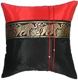 Artiwa negro y rojo de seda sofá cama decorativo 16 x 16 fundas de almohada para cama tamaño grande Thai de Elefante diseño de rayas