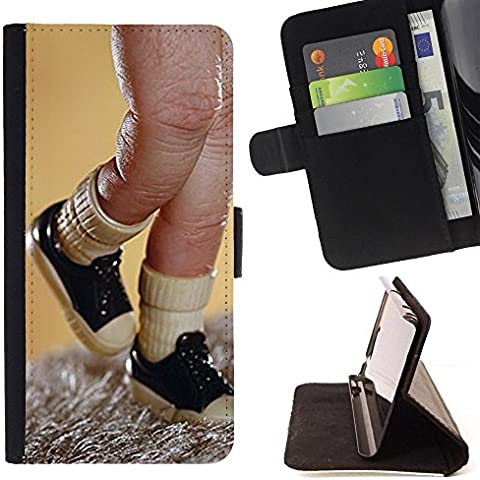 Momo Phone Case / Protettiva Custodia Flip Wallet in pelle - Toy Finger Puppet Sneakers Immagine - LG G4c Curve H522Y (G4 MINI), NOT FOR LG G4