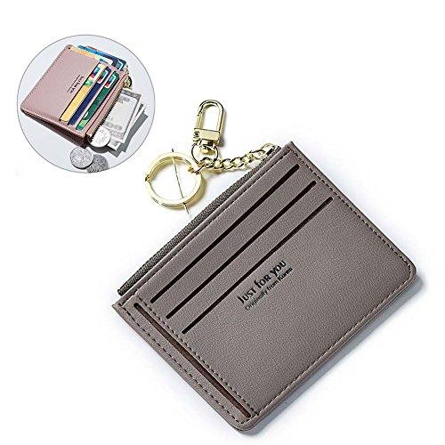 Unisex Damen Geldbörse Premium Kreditkartenetui Slim Wallet,kompakter Kreditkartenhalter, Kartenetui Männerbörse Herrenportemonnaie Geldbeutel Vintage Portemonnaie Portmonee Grau (Gesteppte Wallet Clutch)
