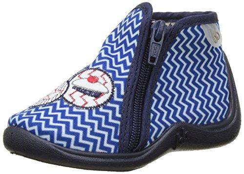 Babybotte Majik, Chaussons montants Doublé Chaud garçon Bleu (Bleu/Blanc/Zigzag Marin)