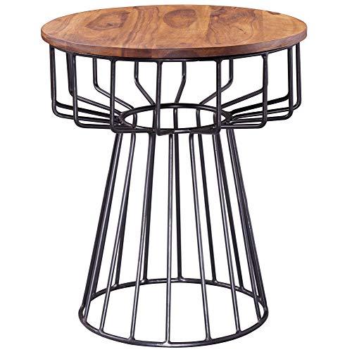 FineBuy Beistelltisch Sheesham Massivholz 47 x 47 x 55 cm Rund | Wohnzimmertisch mit Metall Gestell | Couchtisch | Palisander Holztisch