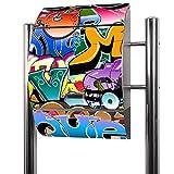 BANJADO Edelstahl Briefkasten groß, Standbriefkasten freistehend 126x53x17cm, Design Briefkasten mit Zeitungsfach Motiv Graffiti