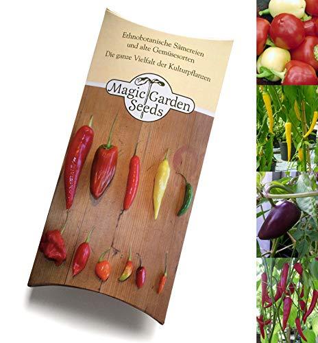Bunte Chili Gewürzmischung Samen-Geschenkset mit 4 aromatische Chilisorten zur Herstellung von Chilipulver (gelb, schwarz, weiß, rot)