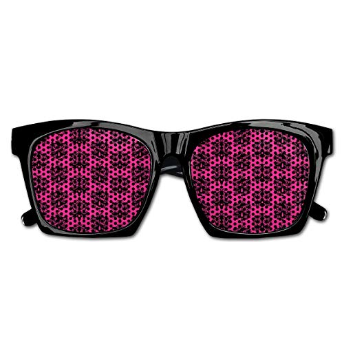 Mesh Sunglasses Sports Polarized, Eastern Themed Ethnic Oriental Black Damask Design On A Hot Pink Backdrop,Fun Props Party Favors Gift Unisex