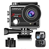 Campark ACT74 Action Camera 4K 16MP Waterproof Cam 30M Underwater Camera 170°Wide View Angle 2.0 Inch LCD Screen with 2 Batteries and Portable Package