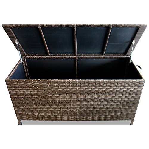 WOHAGA® Gartenbox Auflagenbox Kissenbox Gartentruhe Aufbewahrungsbox Aufbewahrungskiste Kissentruhe – Rollbar, Gasdruckfeder, 134x56xH65cm, Poly Rattan, Braun - 3
