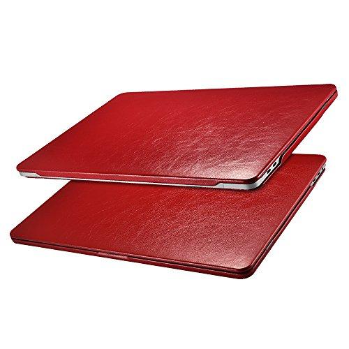 ICARER MacBook Pro 13 Hülle Lederhülle, Ultra Slim Hochwertige Ledertasche Vintage Antik Handytasche Leder Hülle Case Cover für Apple MacBook Pro 13 Zoll Retina mit/Ohne Touch Bar Touch ID (Rot)