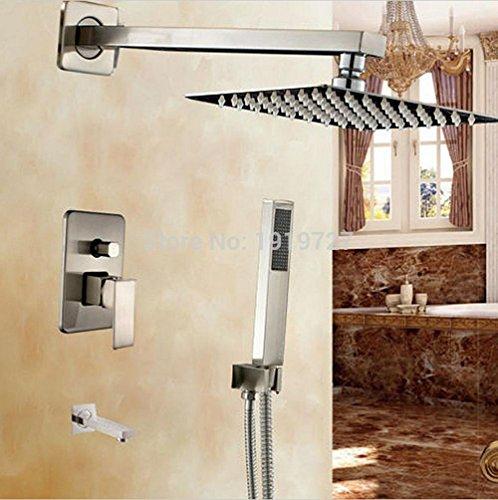 LOVE 10 Zoll Regendusche Griff Brausearmatur Barren Anzüge getrimmt mit quadratischen Badewanne Handbrause Sprühwand System