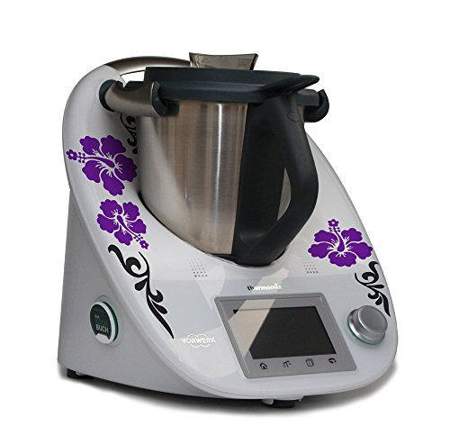 Aufkleber für den Thermomix TM5 - Hibiskus mit Ranke lila anthrazit