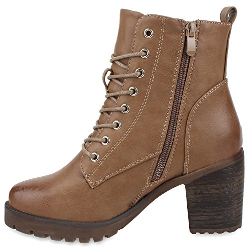 Damen Stiefeletten Blockabsatz Boots Schnürstiefel Profilsohle Khaki Braun