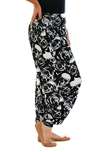 Neu Damen Übergröße Harem Hosen Frau Plus Size Totenkopf & Roses Drucken Leggings Cuffed Volle lange Länge Ladies Plus Size Nouvelle Collection 7061 (Schwarz, Größe 48-50) (Rosen Totenkopf Damen)