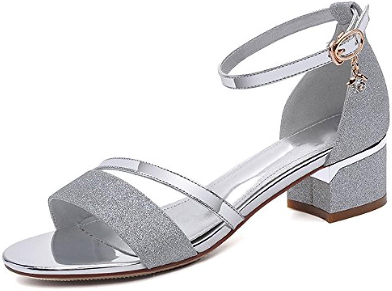 XIAOLIN Sandalias de hebilla de tacón grueso de verano para mujeres Zapatos de tacón alto de tacón medio de cuero...