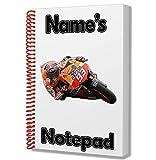 Marc márquez Moto GP MOTORRAD Personalisiertes Geschenk–A5Notizblock/Notebook–Name Gedruckt Auf den Bezug