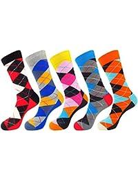 FULIER Mens 5 pack Cotton Rich Smart Design Calcetines coloridos y cómodos Calcetines UK 6-