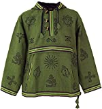 Guru-Shop Goa Kapuzenshirt, Baja Hoody - Olive, Herren, Grün, Baumwolle, Size:L, Sweatshirts & Hoodies Alternative Bekleidung