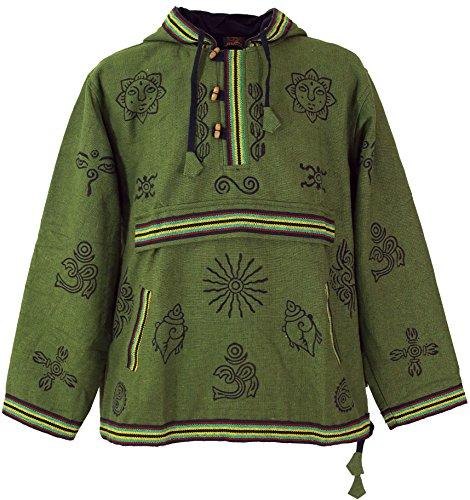 Guru-Shop Goa Kapuzenshirt, Baja Hoody - Olive, Herren, Grün, Baumwolle, Size:XXL, Sweatshirts & Hoodies Alternative Bekleidung - Baja Pullover Hoodies