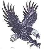 """GRASHINE Extra grand tatouage: 7,87 """"x 8,66"""" pouces étanche la mode et cool voler faux aigle et tatouages temporaires réaliste pour l'homme d'évaluer leur moitié arrière"""