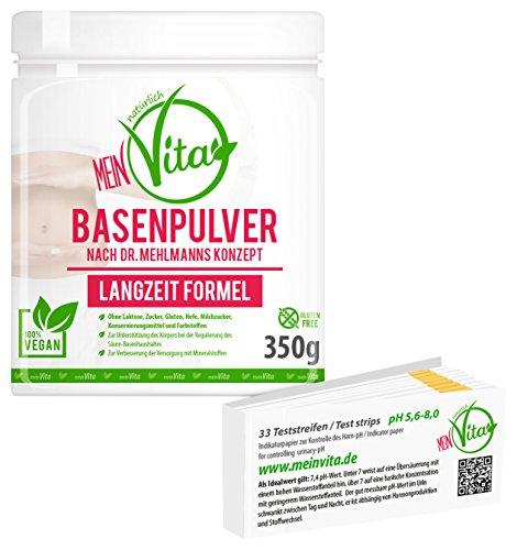 MeinVita Basenpulver, Dr.Mehlmann Konzept - Langzeit Formel - Stoffwechsel, Zink, Magnesium, Calcium - 100% Vegan inklusive Teststreifen, 1er Pack (1 x 350 g)