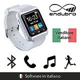 endubro SMARTWATCH U8 OROLOGIO ANDROID DIGITALE TOUCHSCREEN BLUETOOTH - MENÙ IN ITALIANO PER SAMSUNG, HTC, HUAWEI, ZTE, LG, HTC, Ecc. - BIANCO