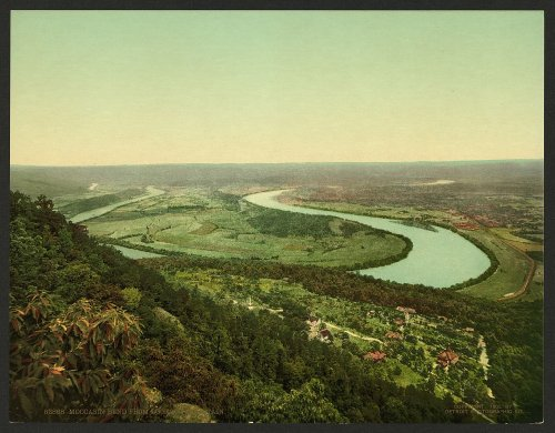 Vintage View of mocassino bend from Lookout mountain, Tennessee, Stati Uniti, Large A3 misura 41 by 29 cm foto