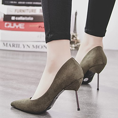 HooH Femmes Stiletto Escarpins Pointed Toe Flanelle Work Escarpins Slip On Vert