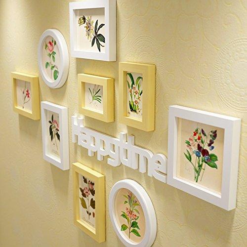 Das Wohnzimmer im Landhausstil Wandmalerei Atelier der Wand Blume Wandmalerei Ideen Wand Kunst 15 Platten dekoriert, alle White Box Kunst + Buchstaben